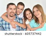 happy family portrait   Shutterstock . vector #605737442
