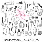 Hand drawn beauty, make up, cosmetic doodles, isolated vector illustrations on a white background. | Shutterstock vector #605738192