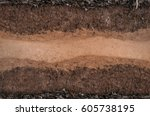 form of soil layers its colour... | Shutterstock . vector #605738195