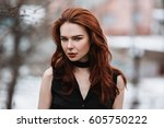 portrait of glamorous girl with ... | Shutterstock . vector #605750222