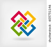 abstract interlocking squares.... | Shutterstock .eps vector #605751146
