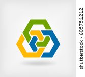 abstract tri color interlocking ... | Shutterstock .eps vector #605751212