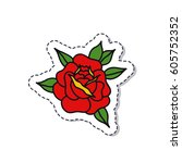 doodle icon  sticker. rose... | Shutterstock .eps vector #605752352