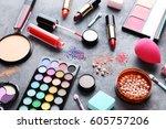 different makeup cosmetics on...   Shutterstock . vector #605757206