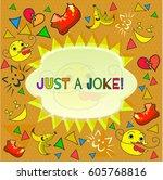 design banner with just a joke...   Shutterstock .eps vector #605768816