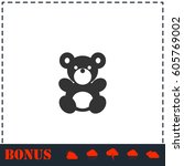 teddy bear icon flat. simple... | Shutterstock .eps vector #605769002