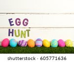easter egg hunt invitation with ...   Shutterstock . vector #605771636