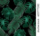 green tropical palm leaves and... | Shutterstock .eps vector #605777282