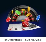 casino roulette with chips  red ... | Shutterstock .eps vector #605787266