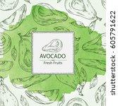 watercolor background avocado... | Shutterstock .eps vector #605791622