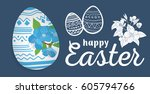 happy easter. easter eggs and...