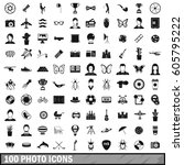 100 photo icons set in simple... | Shutterstock .eps vector #605795222