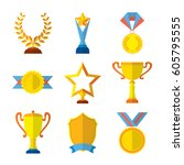 trophy icons flat set of... | Shutterstock .eps vector #605795555