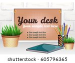 a composition with a wooden... | Shutterstock .eps vector #605796365