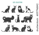 cats icons collection. vector... | Shutterstock .eps vector #605796842