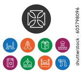 set of 9 faith outline icons... | Shutterstock .eps vector #605798096