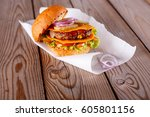 great burger  a burger with... | Shutterstock . vector #605801156