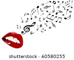 illustration of red lips singing | Shutterstock . vector #60580255