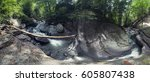 the mountain river is enclosed... | Shutterstock . vector #605807438