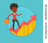 african american business woman ... | Shutterstock .eps vector #605810126