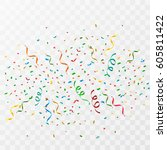 colorful party confetti on a... | Shutterstock .eps vector #605811422