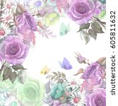 beautiful floral garland.... | Shutterstock . vector #605811632