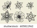Set Of Flowers. Monochrome...