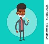 african american man shaving... | Shutterstock .eps vector #605813036