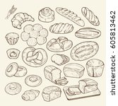 food sketch set. hand drawn... | Shutterstock .eps vector #605813462