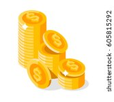 gold stack of dollar coins.... | Shutterstock .eps vector #605815292