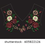 embroidery colorful exotic neck ... | Shutterstock .eps vector #605822126