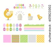 happy  easter set isolated on a ... | Shutterstock .eps vector #605823302