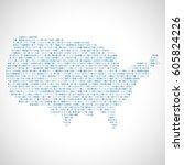 binary digital map of usa.... | Shutterstock .eps vector #605824226