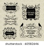vintage frames with birds | Shutterstock .eps vector #60582646
