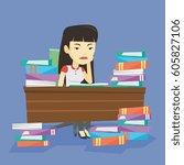 asian annoyed student studying... | Shutterstock .eps vector #605827106