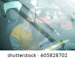 young woman taking selfie... | Shutterstock . vector #605828702