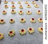 Small photo of bakery and cooking class of cookies, chef demonstrate for making strawberry Jam cookie to student and show active ingredient