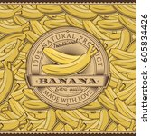 vintage bananas label on... | Shutterstock . vector #605834426