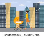 young mom goes with a baby... | Shutterstock .eps vector #605840786