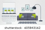 banner with interior of the... | Shutterstock .eps vector #605843162