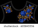 ethnic embroidery blue rose... | Shutterstock .eps vector #605845556