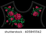 Stock vector ethnic embroidery red rose flowers floral design for neckline fashion satin stitch stitches 605845562