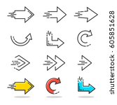 arrows icons set in linear... | Shutterstock .eps vector #605851628
