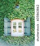 window with green shutters... | Shutterstock . vector #605863862