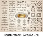 Stock vector vintage page dividers old crest and frames calligraphic design logo set vector flourishes 605865278