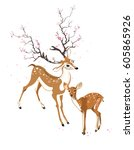 spring deer and fawn | Shutterstock .eps vector #605865926