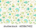 seamless floral pattern | Shutterstock .eps vector #605867402
