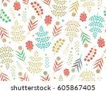 seamless floral pattern   Shutterstock .eps vector #605867405