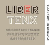 linear font. vector alphabet... | Shutterstock .eps vector #605871446