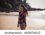 summer sunny lifestyle fashion... | Shutterstock . vector #605876012